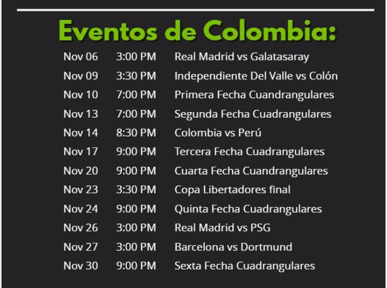 eventos de futbol en colombia