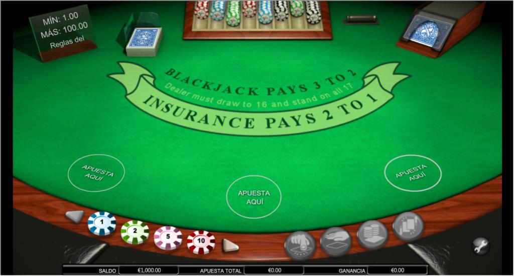 blackjack de multiples manos