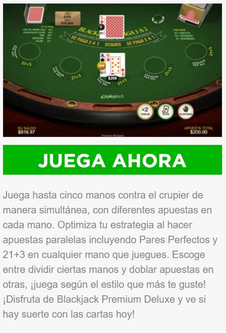caliente casino - disfruta del blackjack premium deluxe